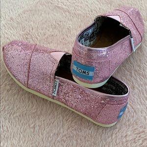 Girls Pink Glitter Toms